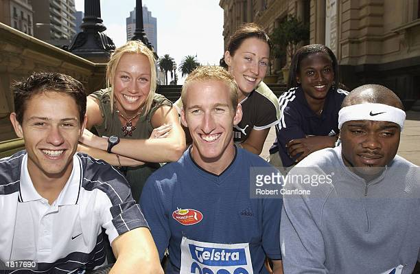Kris McCarthy Clinton Hill Alvin Harrison Jana Pittman Tamsyn Lewis Andrea Blackett during a media lunch for the Telstra A Series Championships at...