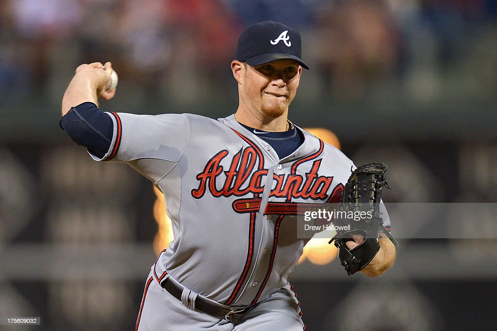 <a gi-track='captionPersonalityLinkClicked' href=/galleries/search?phrase=Kris+Medlen&family=editorial&specificpeople=5743982 ng-click='$event.stopPropagation()'>Kris Medlen</a> #54 of the Atlanta Braves delivers a pitch in the ninth inning against the Philadelphia Phillies at Citizens Bank Park on August 4, 2013 in Philadelphia, Pennsylvania. The Braves won 4-1.