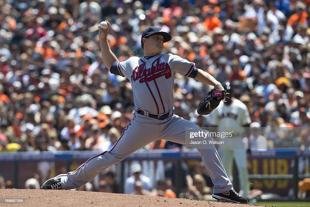 <a gi-track='captionPersonalityLinkClicked' href=/galleries/search?phrase=Kris+Medlen&family=editorial&specificpeople=5743982 ng-click='$event.stopPropagation()'>Kris Medlen</a> #54 of the Atlanta Braves pitches against the San Francisco Giants during the first inning at AT&T Park on May 12, 2013 in San Francisco, California. The San Francisco Giants defeated the Atlanta Braves 5-1.