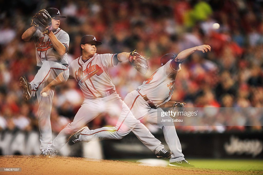 <a gi-track='captionPersonalityLinkClicked' href=/galleries/search?phrase=Kris+Medlen&family=editorial&specificpeople=5743982 ng-click='$event.stopPropagation()'>Kris Medlen</a> #54 of the Atlanta Braves pitches in the fifth inning against the Cincinnati Reds at Great American Ball Park on May 7, 2013 in Cincinnati, Ohio. Cincinnati defeated Atlanta 5-4.