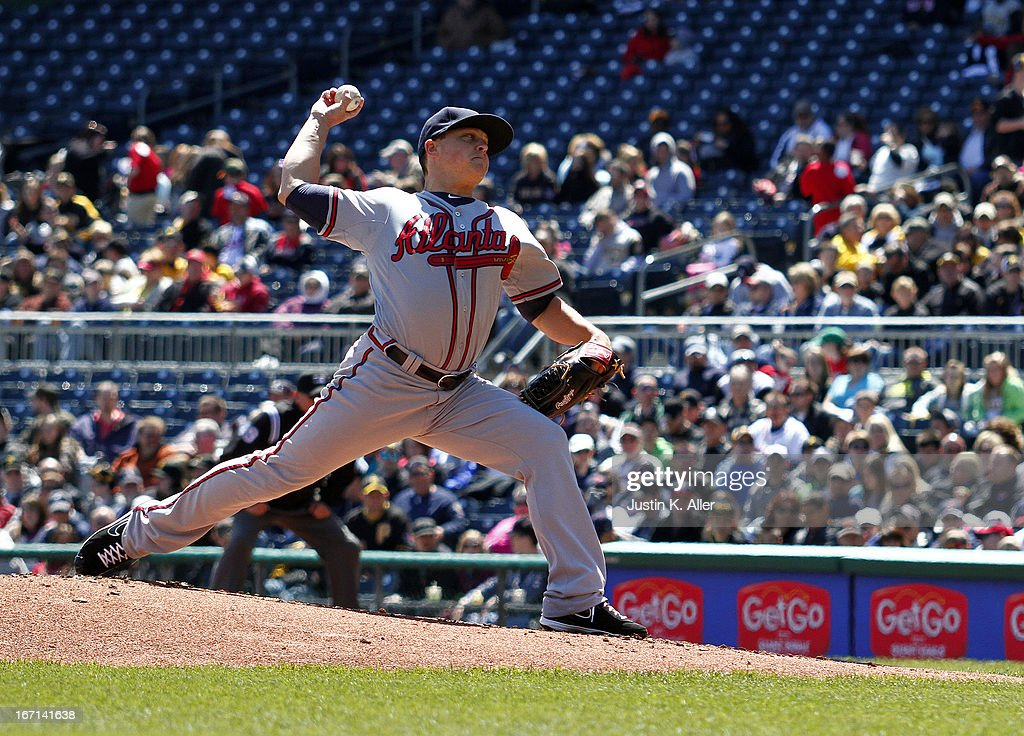 <a gi-track='captionPersonalityLinkClicked' href=/galleries/search?phrase=Kris+Medlen&family=editorial&specificpeople=5743982 ng-click='$event.stopPropagation()'>Kris Medlen</a> #54 of the Atlanta Braves pitches in the first inning against the Pittsburgh Pirates during the game on April 21, 2013 at PNC Park in Pittsburgh, Pennsylvania.