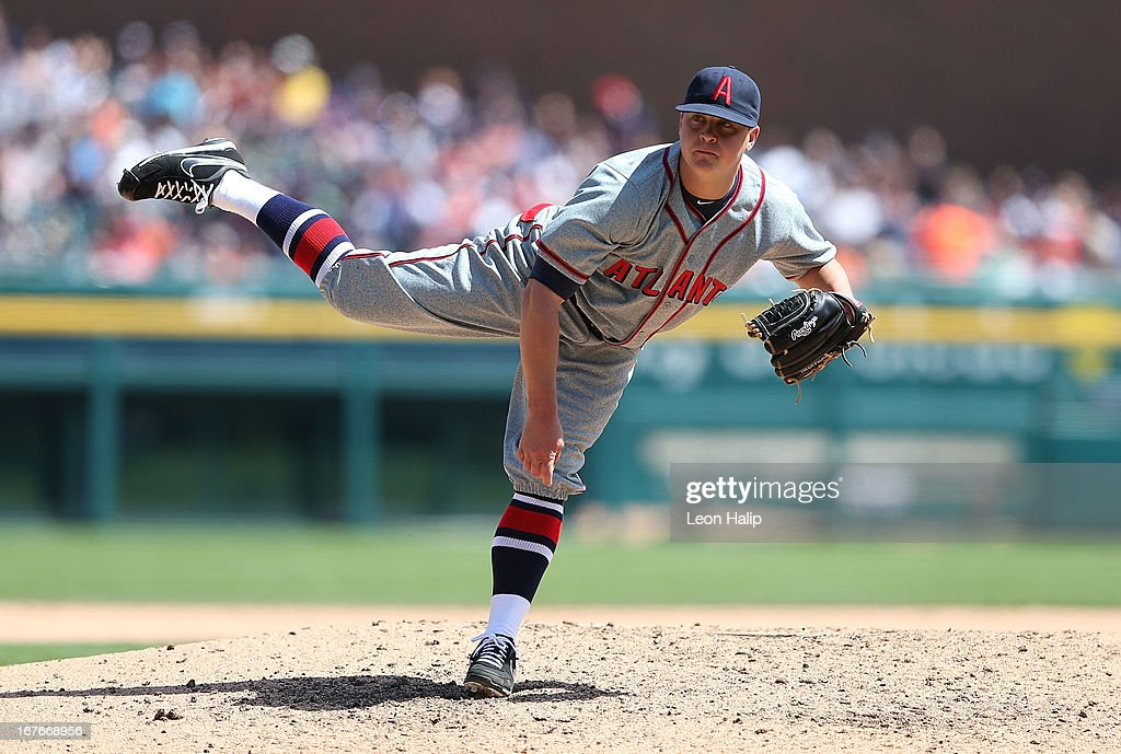 <a gi-track='captionPersonalityLinkClicked' href=/galleries/search?phrase=Kris+Medlen&family=editorial&specificpeople=5743982 ng-click='$event.stopPropagation()'>Kris Medlen</a> #54 of the Atlanta Braves pitches in the fourth inning of the game against the Detroit Tigers at Comerica Park on April 27, 2013 in Detroit, Michigan. The Tigers defeated the Braves 7-4.