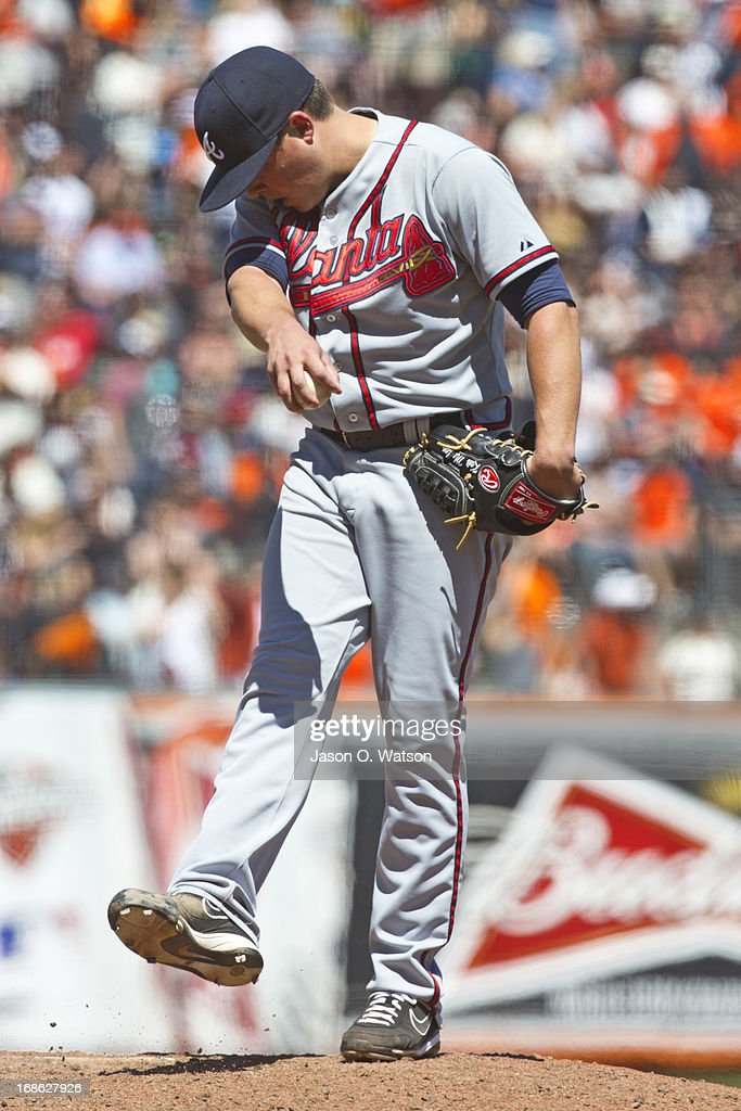 <a gi-track='captionPersonalityLinkClicked' href=/galleries/search?phrase=Kris+Medlen&family=editorial&specificpeople=5743982 ng-click='$event.stopPropagation()'>Kris Medlen</a> #54 of the Atlanta Braves reacts after giving up a home run to Marco Scutaro #19 of the San Francisco Giants (not pictured) during the fifth inning at AT&T Park on May 12, 2013 in San Francisco, California.