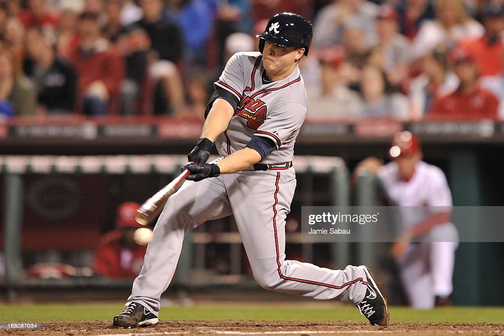 <a gi-track='captionPersonalityLinkClicked' href=/galleries/search?phrase=Kris+Medlen&family=editorial&specificpeople=5743982 ng-click='$event.stopPropagation()'>Kris Medlen</a> #54 of the Atlanta Braves strikes out to end the sixth inning against the Cincinnati Reds at Great American Ball Park on May 7, 2013 in Cincinnati, Ohio. Cincinnati defeated Atlanta 5-4.