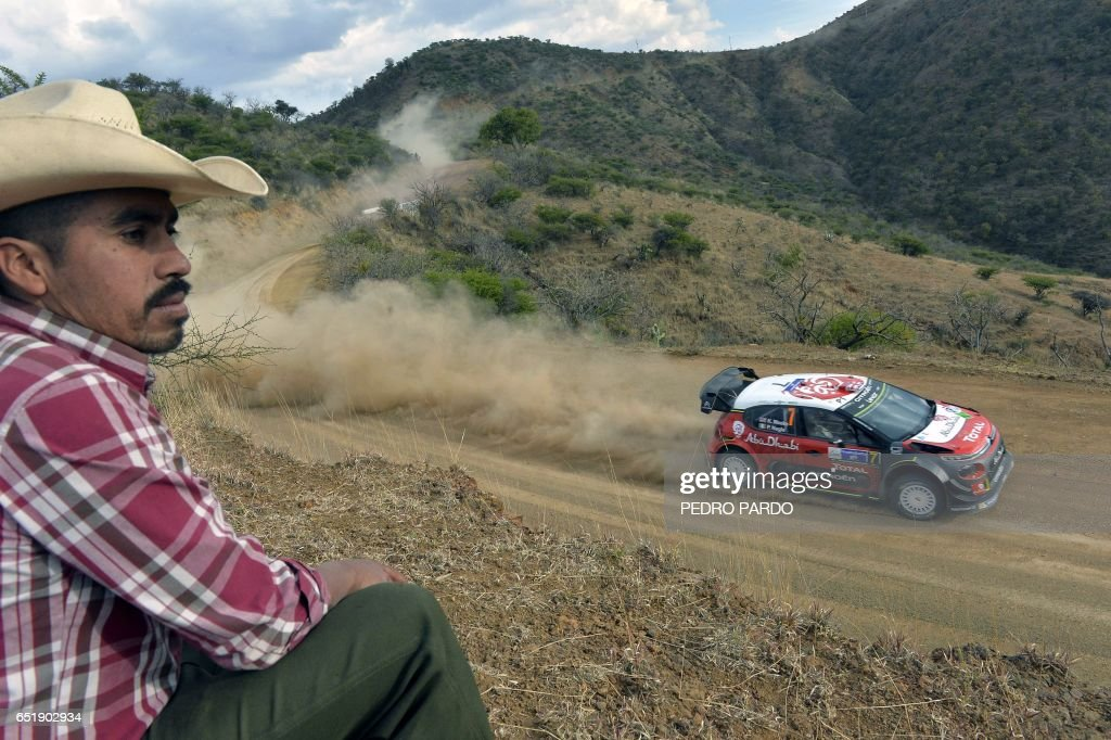 Kris Meeke and his co-driver Paul Nagle of Ireland compete in their Citroen C3 WRC during the 2017 FIA World Rally Championship in Leon, Guanajuato state, Mexico, on March 10, 2017. /