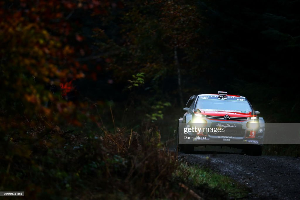 Kris Meeke of Great Britain and Citroen Total Abu Dhabi WRT drives with co-driver Paul Nagle of Ireland during Shakedown for the FIA World Rally Championship Great Britain in Clocaenog Forest on October 26, 2017 in Clocaenog, Wales.