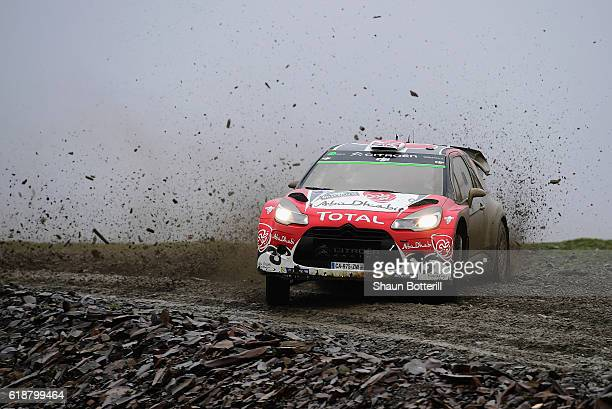 Kris Meeke of Great Britain and Paul Nagle of Ireland and Abu Dhabi Total World Rally Team during the FIA World Rally Championship Great Britain...