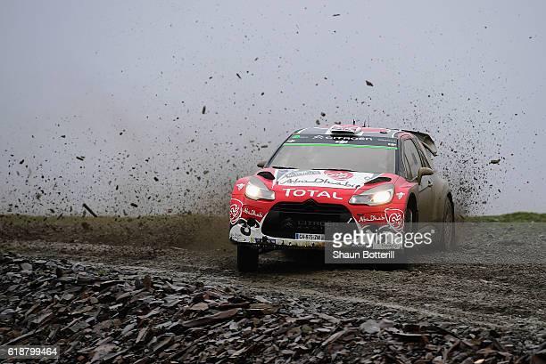 Kris Meeke of Great Britain and Paul Nagle of Ireland and Abu Dhabi Total World Rally Team during the FIA World Rally Championship Great Britain...