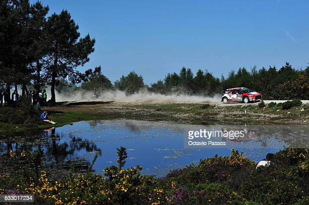 Kris Meeke of Great Britain and Paul Nagle of Ireland compete in their Abu Dhabi Total WRT Citroen DS3 WRC during the SS4 Viana do Castelo of the WRC...