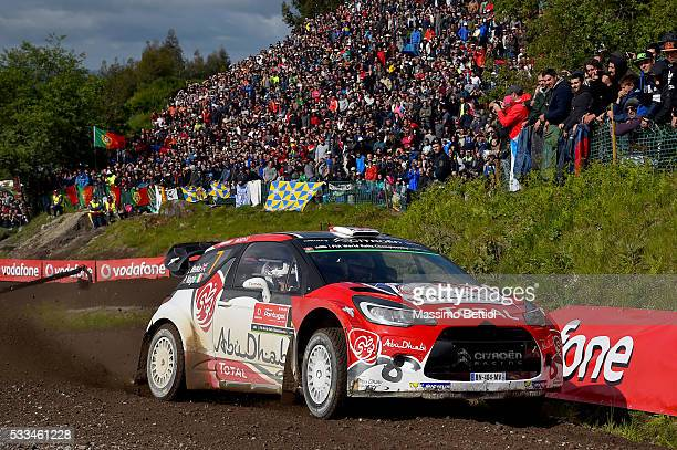 Kris Meeke of Great Britain and Paul Nagle of Ireland compete in their Abu Dhabi WRT Citroen DS3 WRC during Day Three of the WRC Portugal on May 22...