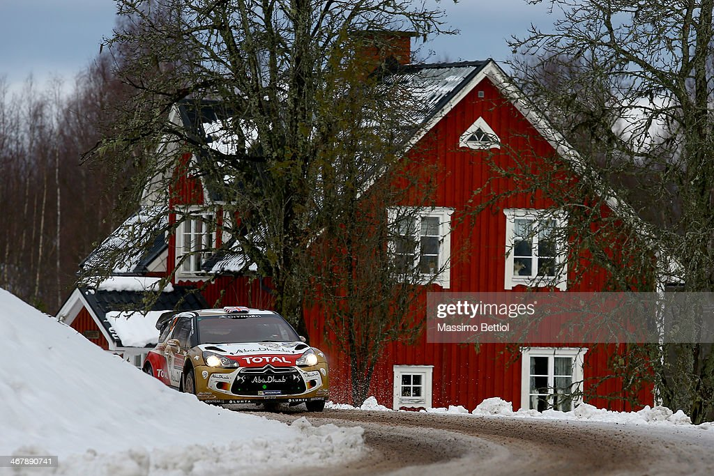 Kris Meeke of Great Britain and Paul Nagle of Ireland compete in their Citroen Total Abu Dhabi WRT Citroen DS3 WRC during Day Three of the WRC Sweden...