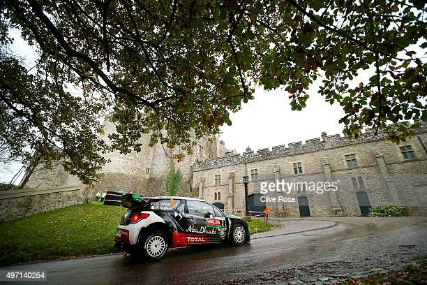 Kris Meeke of Great Britain and Paul Nagle of Ireland pilot the CITROËN TOTAL Abu Dhabi WRT DS3 during the Chirk Castle stage of the FIA World Rally...