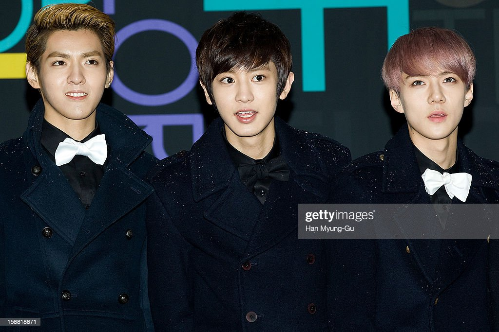Kris of boy band EXO-M, Chan Yeol and Se Hun of boy band EXO-K arrive at the 2012 SBS Korea Pop Music Festival named 'The Color Of K-Pop' at Korea University on December 29, 2012 in Seoul, South Korea.