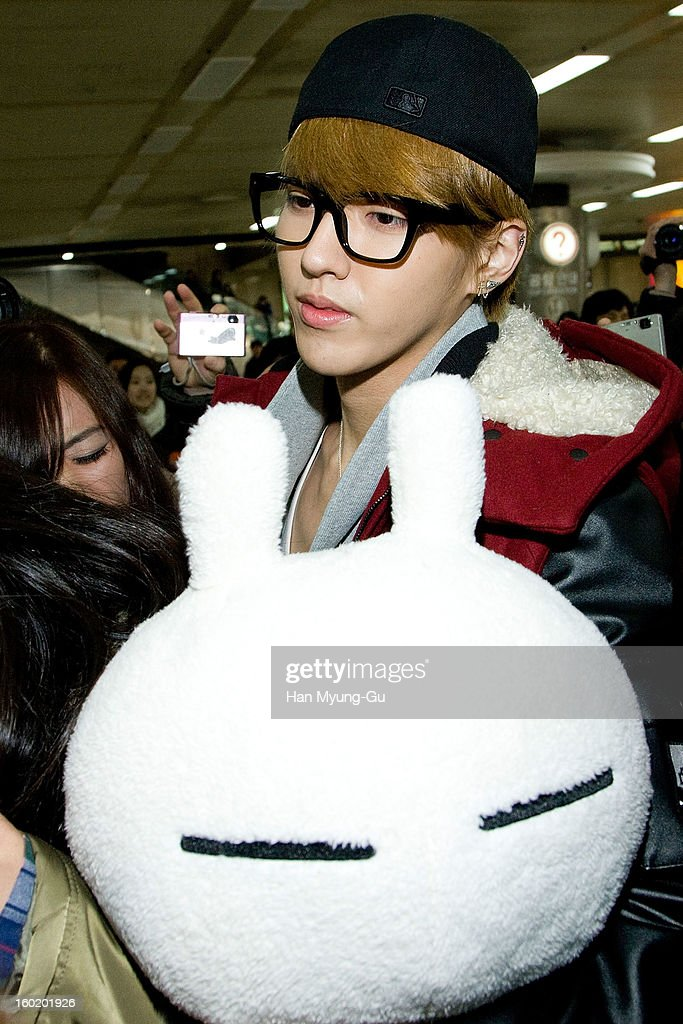 Kris of boy band EXO-M is seen at Gimpo International Airport on January 27, 2013 in Seoul, South Korea.