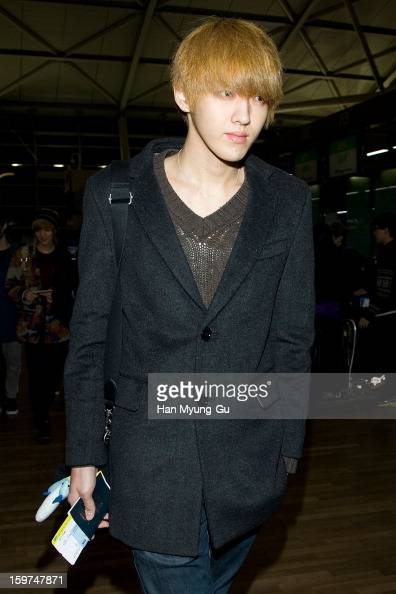 Kris of boy band EXOM is seen at Incheon International Airport on January 19 2013 in Incheon South Korea