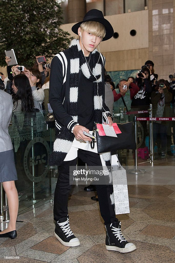 Kris of boy band EXO-M is seen on departure at Gimpo International Airport on October 25, in Seoul, South Korea.