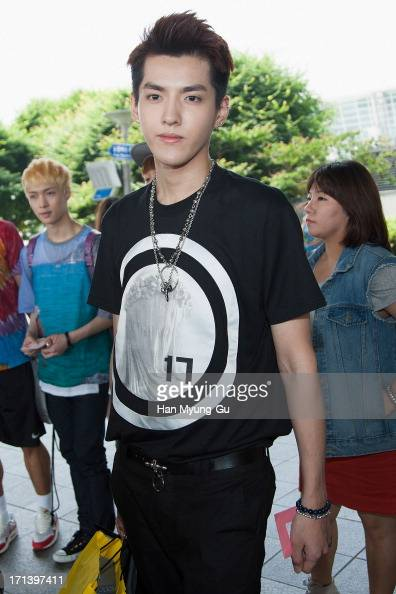 Kris of boy band EXOM is seen upon arrival at Incheon International Airport on June 24 2013 in Incheon South Korea