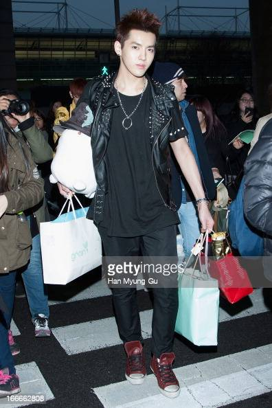 Kris of boy band EXOM is seen upon arrival from China at Incheon International Airport on April 15 2013 in Incheon South Korea