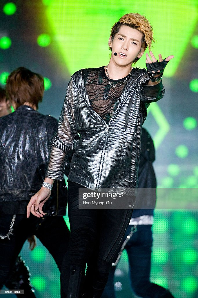 Kris of boy band EXO-M performs onstage during the KBS Korea-China Music Festival on August 25, 2012 in Yeosu, South Korea.
