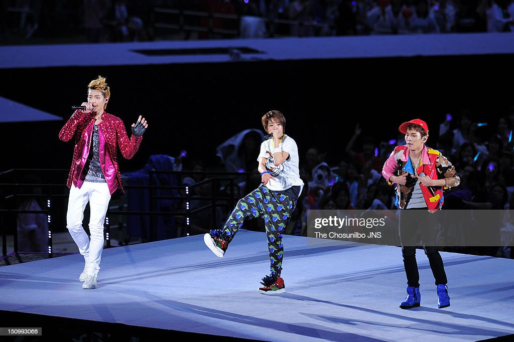 Kris of Exo-M, Amber of f(x), and Key of SHINee perform during 'SM Town Live World Tour 3 In Seoul' at Jamsil Sports Complex on August 18, 2012 in Seoul, South Korea.