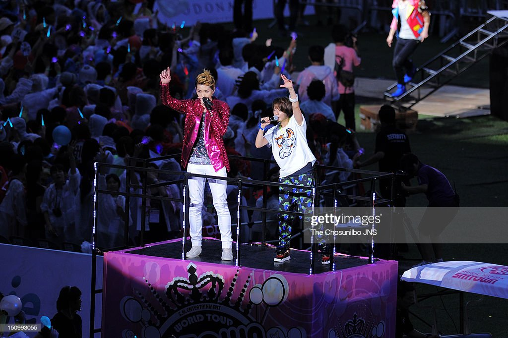 Kris of Exo-M and Amber of f(x) perform during 'SM Town Live World Tour 3 In Seoul' at Jamsil Sports Complex on August 18, 2012 in Seoul, South Korea.