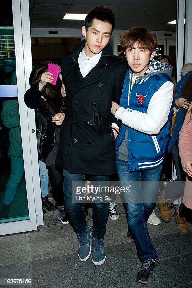 Kris of leading boy band EXOM is seen upon arrival from China at Incheon International Airport on March 14 2013 in Incheon South Korea
