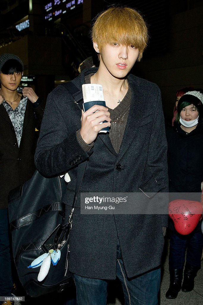 Kris of South Korean boy band EXO-M is seen at Incheon International Airport on January 19, 2013 in Incheon, South Korea.