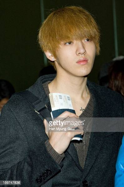 Kris of South Korean boy band EXOM is seen at Incheon International Airport on January 19 2013 in Incheon South Korea