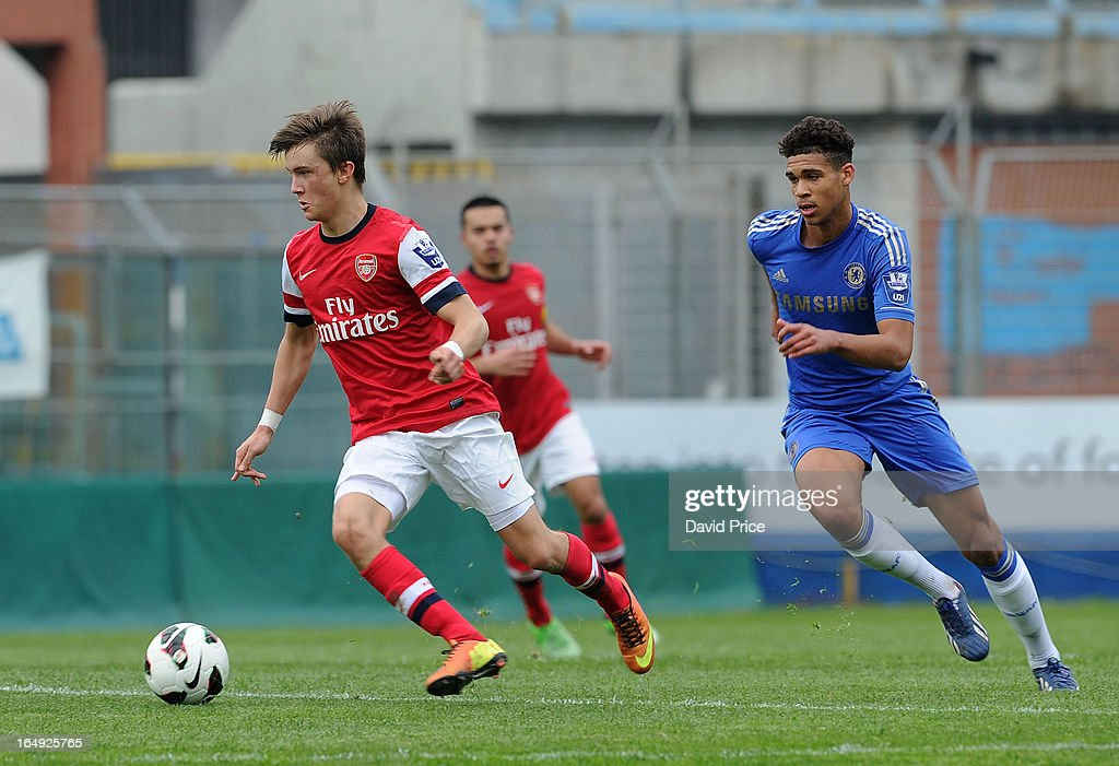 Kris Olsson of Arsenal turns away from Ruben Cheek of Chelsea during the NextGen Series Semi Final match between Arsenal and Chelsea at Stadio Guiseppe Sinigallia on March 29, 2013 in Como, Italy.