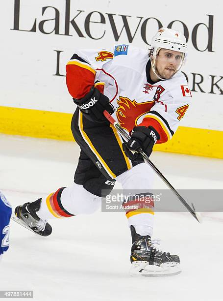 Kris Russell of the Calgary Flames against the Tampa Bay Lightning at the Amalie Arena on November 12 2015 in Tampa Florida