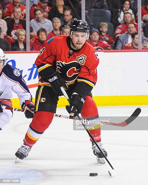 Kris Russell of the Calgary Flames in action against the Columbus Blue Jackets during an NHL game at Scotiabank Saddledome on February 5 2016 in...