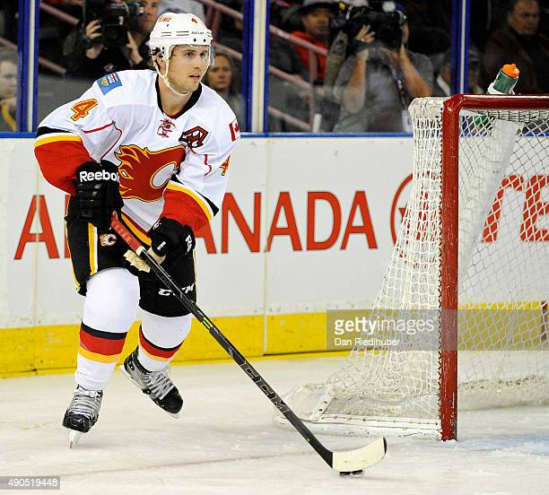 Kris Russell of the Calgary Flames looks up ice for an open man against the Edmonton Oilers at Rexall Place on September 21 2015 in Edmonton Alberta...