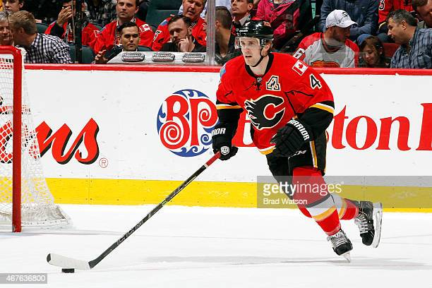 Kris Russell of the Calgary Flames skates against the Anaheim Ducks at Scotiabank Saddledome on March 11 2015 in Calgary Alberta Canada The Flames...