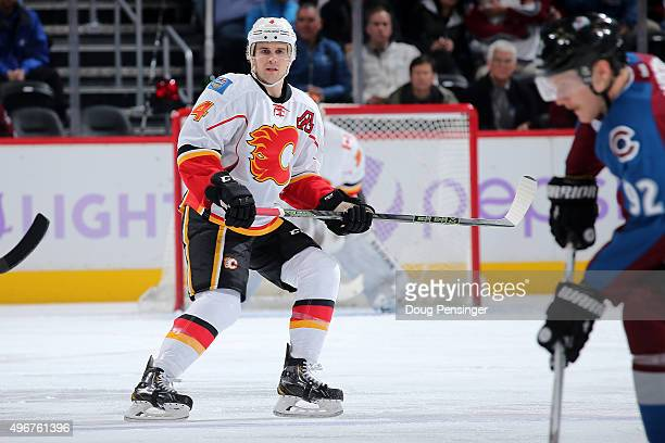 Kris Russell of the Calgary Flames skates against the Colorado Avalanche at Pepsi Center on November 3 2015 in Denver Colorado The Avalanche defeated...