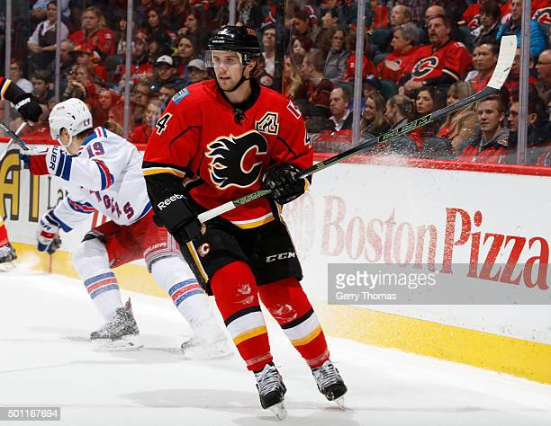 Kris Russell of the Calgary Flames skates against the New York Rangers at Scotiabank Saddledome on December 12 2015 in Calgary Alberta Canada