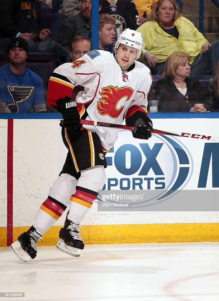 <a gi-track='captionPersonalityLinkClicked' href=/galleries/search?phrase=Kris+Russell&family=editorial&specificpeople=879805 ng-click='$event.stopPropagation()'>Kris Russell</a> #4 of the Calgary Flames skates against the St. Louis Blues on November 7, 2013 at Scottrade Center in St. Louis, Missouri.