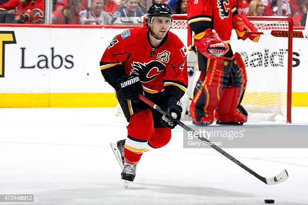 Kris Russell of the Calgary Flames skates against the Vancouver Canucks at Scotiabank Saddledome for Game Three of the Western Quarterfinals during...