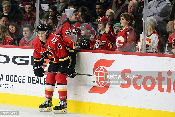 Kris Russell of the Calgary Flames skates in the warmup against the Anaheim Ducks before an NHL game at Scotiabank Saddledome on December 29 2015 in...