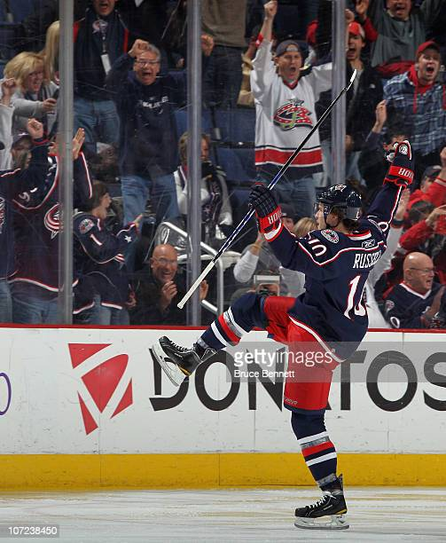 Kris Russell of the Columbus Blue Jackets scores at 201 of the third period against the Nashville Predators at the Nationwide Arena on December 1...