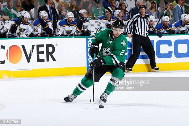 Kris Russell of the Dallas Stars handles the puck against the St Louis Blues in Game Two of the Western Conference Second Round during the 2016 NHL...