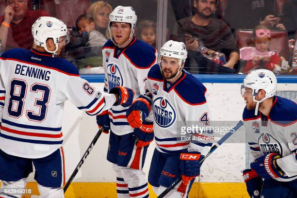 Kris Russell of the Edmonton Oilers celebrates his goal with teammates against the Florida Panthers at the BBT Center on February 22 2017 in Sunrise...