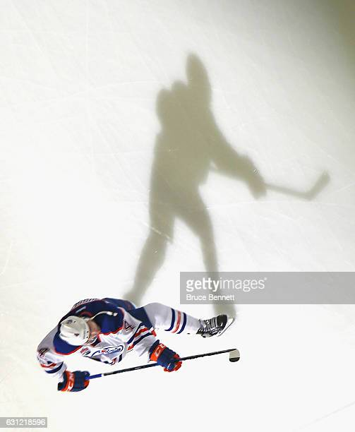 Kris Russell of the Edmonton Oilers skates in warmups prior to the game against the New Jersey Devils at the Prudential Center on January 7 2017 in...