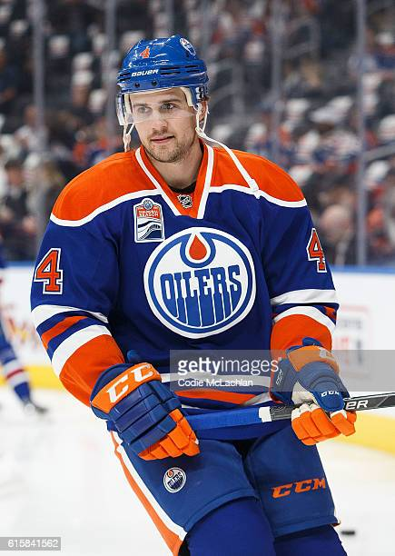 Kris Russell of the Edmonton Oilers warms up before the game against the Buffalo Sabres on October 16 2016 at Rogers Place in Edmonton Alberta Canada