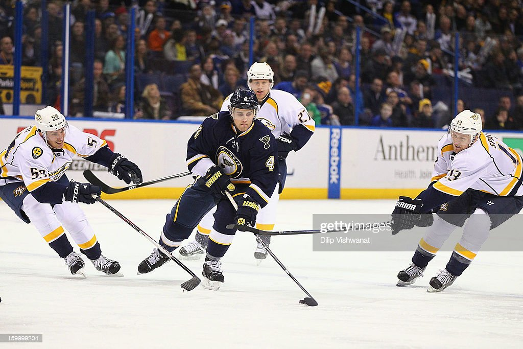 <a gi-track='captionPersonalityLinkClicked' href=/galleries/search?phrase=Kris+Russell&family=editorial&specificpeople=879805 ng-click='$event.stopPropagation()'>Kris Russell</a> #4 of the St. Louis Blues moves there puck up the ice against <a gi-track='captionPersonalityLinkClicked' href=/galleries/search?phrase=Roman+Josi&family=editorial&specificpeople=4247871 ng-click='$event.stopPropagation()'>Roman Josi</a> #59 and <a gi-track='captionPersonalityLinkClicked' href=/galleries/search?phrase=Nick+Spaling&family=editorial&specificpeople=4112920 ng-click='$event.stopPropagation()'>Nick Spaling</a> #13 of the Nashville Predators at the Scottrade Center on January 24, 2013 in St. Louis, Missouri.