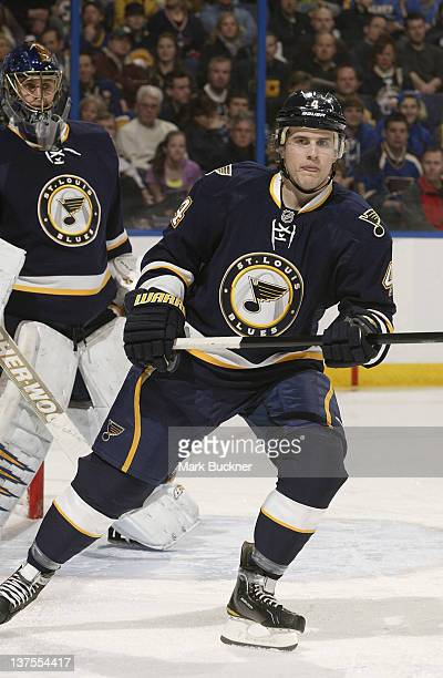 Kris Russell of the St Louis Blues skates against the Buffalo Sabres in an NHL game on January 21 2012 at Scottrade Center in St Louis Missouri