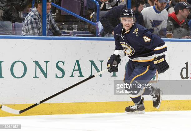 Kris Russell of the St Louis Blues skates against the Tampa Bay Lightning in an NHL game on November 12 2011 at Scottrade Center in St Louis Missouri