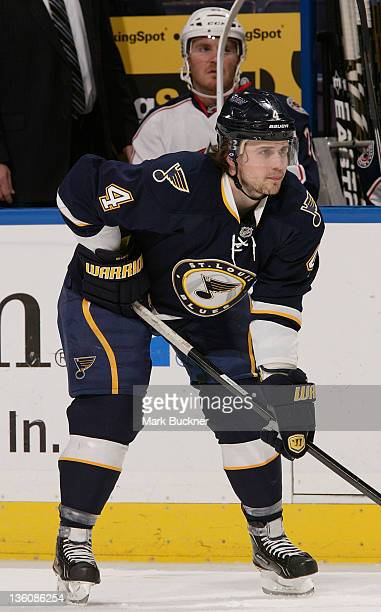 Kris Russell of the St Louis Blues waits for a faceoff against the Columbus Blue Jackets in an NHL game on December 18 2011 at Scottrade Center in St...