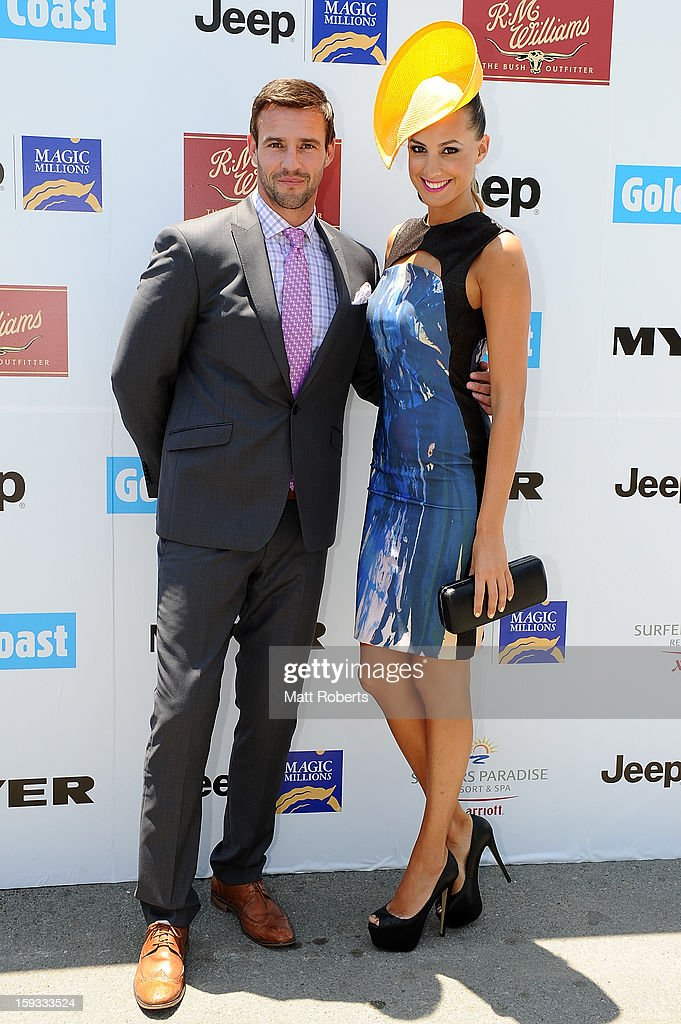 Kris Smith and Luara Dundovic attend Magic Millions Raceday at Gold Coast Turf Club on January 12, 2013 on the Gold Coast, Australia.
