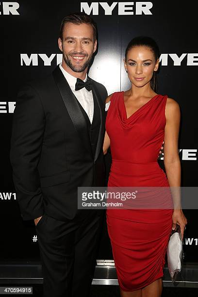 Kris Smith and Maddy King arrive at the Myer Autumn Winter 2014 Fashion Launch at Myer Mural Hall on February 20 2014 in Melbourne Australia
