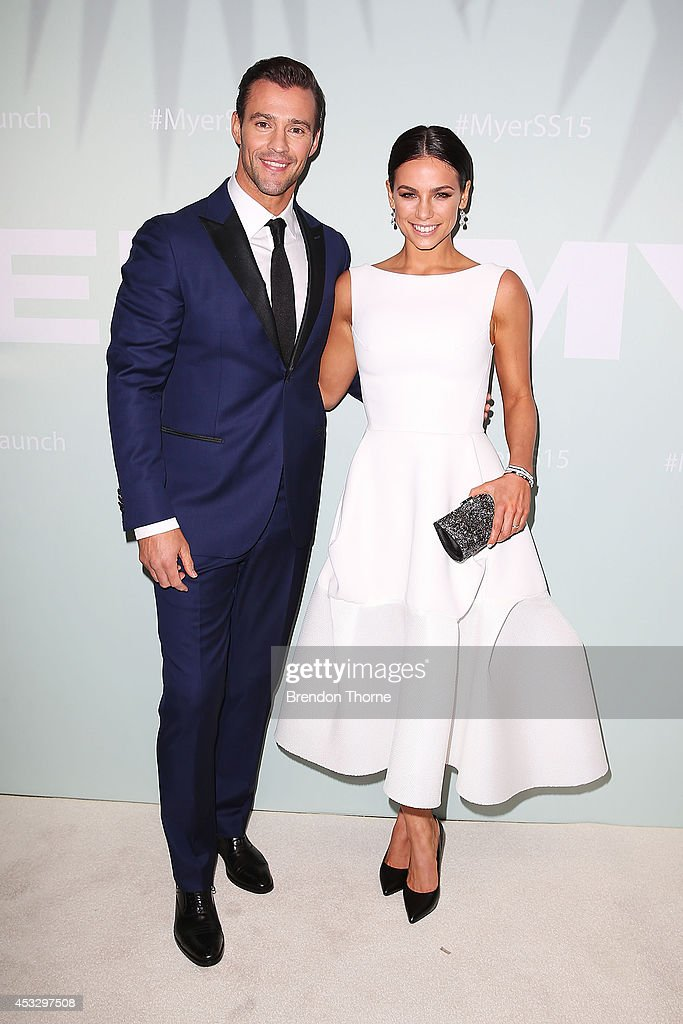 Kris Smith and Maddy King arrive at the Myer Spring Summer 2014 Fashion Launch at Carriageworks on August 7, 2014 in Sydney, Australia.